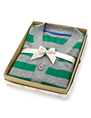 Pure Cashmere Striped Cardigan in Gift Box