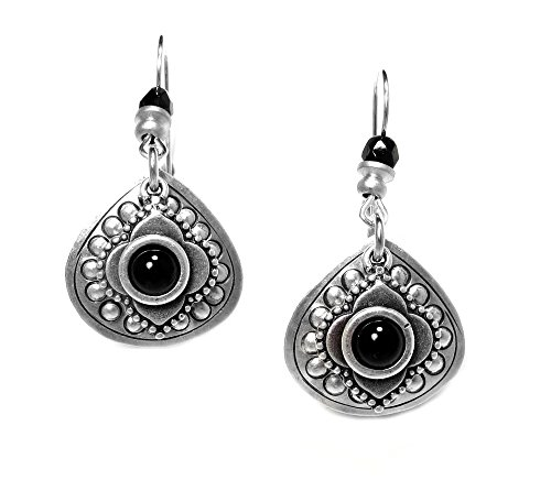 john-michael-richardson-silver-plated-black-embossed-earrings