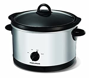 Morphy Richards 48697 Slow Cooker Polished Round Stainless Steel, 6 Litre - 330 Watt