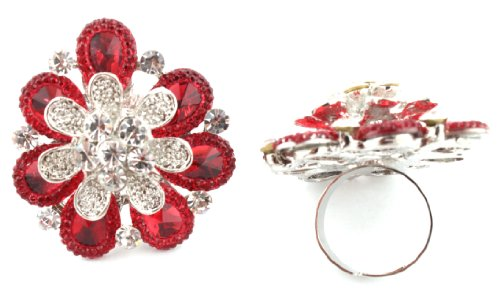 Stylish Ladies Red Three Layered Flower Metal Adjustable Finger Ring