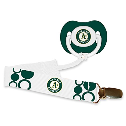 Oakland Athletics As Green Infant Pacifier and Pacifier Clip - MLB Baby Fanatic Combo Gift Set