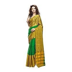Lemoda Designer Green & Golden Zari Border Cotton Blend Saree MMUKE61487132880-70000054