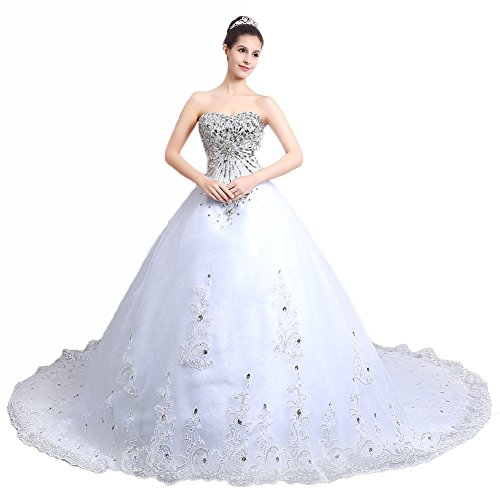 Ikerenwedding Women's Rhinestones Bodice Tulle Wedding Dress(Include Veil Crown)