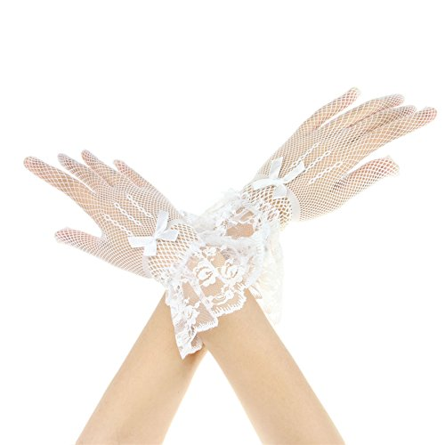 Women Ladies White Lace Short Full-fingered Evening Prom Party Wedding Gloves