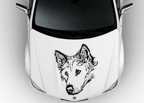 Images for Car Hood Vinyl Sticker Decal Wolf Dog Head Flaming Tattoo N554