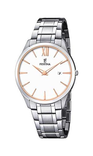 Festina-Reloj con mecanismo de cuarzo para hombre color blanco esfera analógica pantalla y plata pulsera de acero inoxidable F6832/3