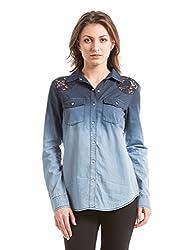 Shuffle Women's Lace Shirt (1021507501_Blue_X-Large)