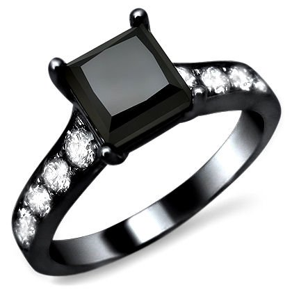Cheapest 2.17ct Black Princess Cut Diamond Engagement Ring 14k Black Gold Rhodium Plating Over White Gold with a 1.60ct Center Diamond and .57ct of Surrounding Diamonds