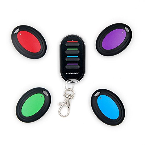Vodeson KF04B Wireless RF Wallet Locator Key Finder, Remote Control Keychain Locator with 1 Portable Transmitter and 4 Receivers (Locators For Remotes compare prices)