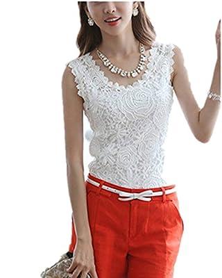 ZANZEA Women's Lace Sleeveless Crochet Camisole Blouse T-Shirt