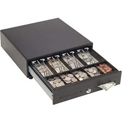 """Mmf Cash Drawer MMF-VAL1314M-04 MMF Val-U Line Touch-Release Manual Cash Drawer, 4 BILL/5 Coin Till, 13"""" W x 14"""" D x 3.5"""" H, black"""