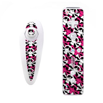 Skully Pink Design Nintendo Wii Nunchuk + Remote Controller Protector Skin Decal Sticker