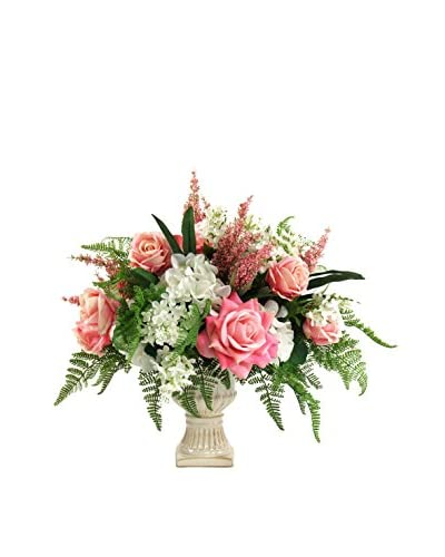 Creative Displays Rose and Hydrangea Floral Urn, Pink/White/Green