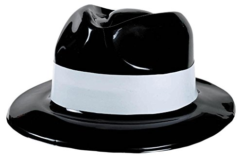 blck gangster hat w/white band - 1