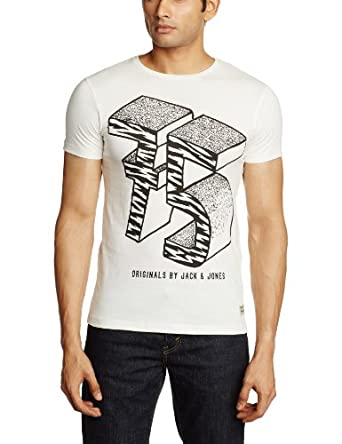 Jack & Jones Vénice - T-shirt - Col ras du cou - Manches courtes - Homme - Blanc (Cloud Dancer/Detail:Slim) - Small (Taille fabricant: S)