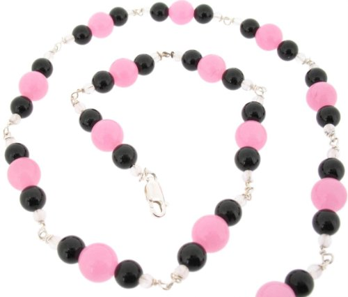 Earth Ladies' 44cm Beaded Necklace with Pink Jade, Black Onyx and Rose Quartz Beads