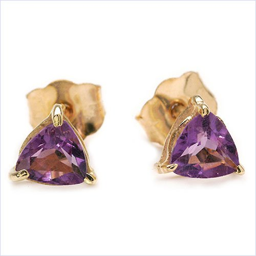 Jewelry-Schmidt-Earrings Amethyst-trillion-triangles and yellow gold 10 carat gold-416 stainless