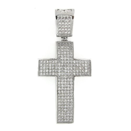 Men's Iced Out Hip Hop White Gold Plated Cubic Zircoina (CZ) Micro Pave Latin Cross Religious Charm Pendant