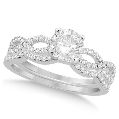 Twisted Infinity Round Diamond Engagement Ring Bridal Set 14K White Gold 1.13Ctw