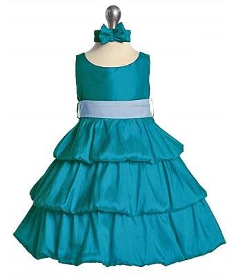 SIZE 12M - Baby teal Flower Girl Dress Taffeta (12M to 4T)