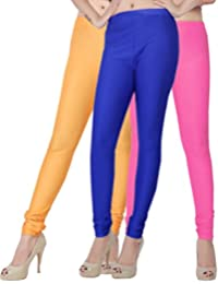 Fashion And Freedom Women's Pack Of 3 Orange,Blue And Pink Satin Leggings