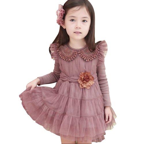 Little Hand Little Girls' Ruffled Collar Lace Dress front-516586