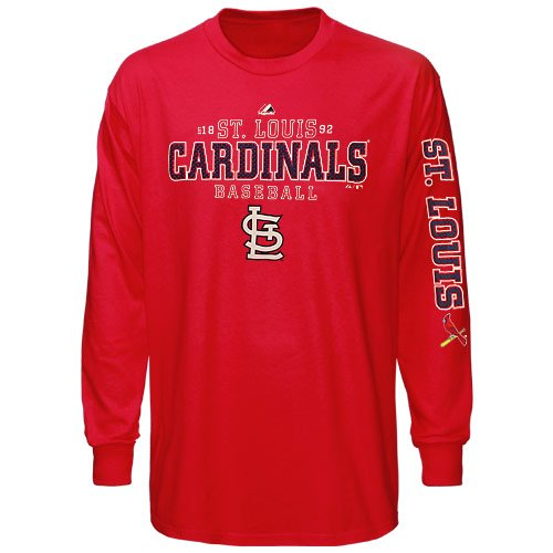 MLB Majestic St. Louis Cardinals Charge the Mound Long Sleeve T-Shirt - Red (X-Large) at Amazon.com