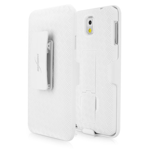 BoxWave Dual+ Holster Samsung Galaxy Note 3 Case - 3-in-1 Case with Holster Combo Includes Protective Case and Belt Clip Holster with Integrated Viewing Stand (Winter White)