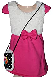 Habooz kids winter woolen white and pink woolen frock with sling