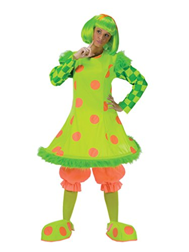 Funworld Womens Lolli The Clown Funny Green And Orange Polka Dot Adults Costume