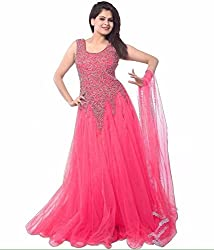 Z Fashion Women's Pink Color Soft Net Embroidered Semi-stitched Round Neck Sleeveless Free Size Anarkali Gown with Matching Net Dupatta