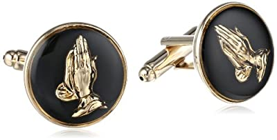 Status Men's Cuff Links Round Enamel With Praying Hands
