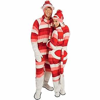 amazoncom sock monkey costume fleece striped pajamas