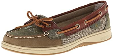 Sperry Top-Sider Women's Angelfish Sparkle Suede Boat Shoe, Olive/Cognac, 5 M US