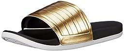 adidas Performance Women\'s Adilette SC+ Gold C W Sandal,Black/Gold/White,6 M US