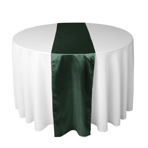 14 x 108 Inch Satin Table Runner Hunter Green14 x 108 Inch Satin Table Runner Hunter Green