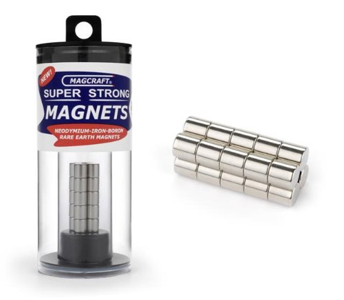 Magcraft NSN0617 1/4-Inch by 1/4-Inch Rare Earth Rod Magnets, 20-Count