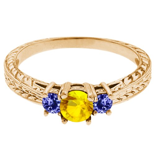 0.60 Ct Round Yellow Sapphire Blue Tanzanite 14K Yellow Gold 3-Stone Ring