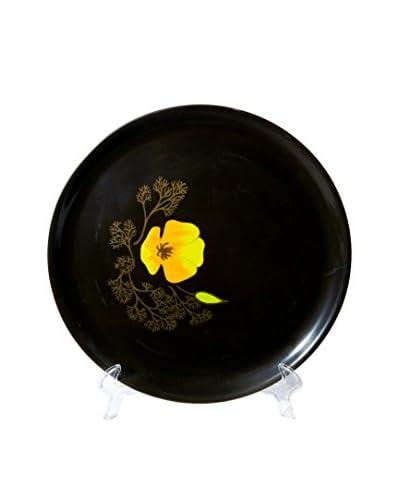 1960s Couroc Inlaid Round Poppy Tray