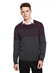 Autograph Pure Cotton Space-Dye & Colour Block Jumper