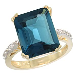 14K Yellow Gold Diamond Natural London Blue Topaz Ring Emerald-cut 12x10mm, 1/2 inch wide, size 5