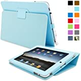 iPad 1 Case, Snugg™ - Cover with Flip Stand & Lifetime Guarantee (Baby Blue Leather) for Apple iPad 1