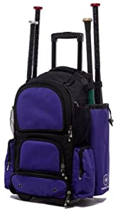 Black and Purple Chita CTR M Softball Baseball Bat Equipment Roller Backpack BKPUCTRM by MAXOPS