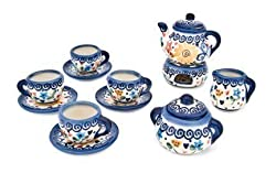 Polish Pottery Butterfly Miniature Tea Set