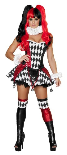 Roma Costume 3 Piece Court Jester Cutie As Shown, Black/Red, Large