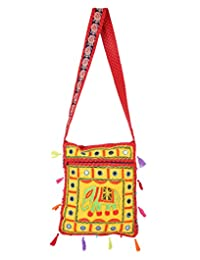 Exclusive Yellow Embroidered Cotton Elephant Sling Bag For Women's By Rajrang