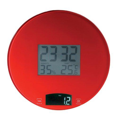 Balance électronique rouge avec horloge DOM251R