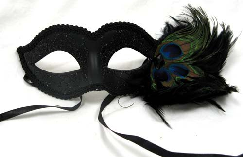 Venetian Masquerade Ball Mask with Black Designs and Peacock Feathers