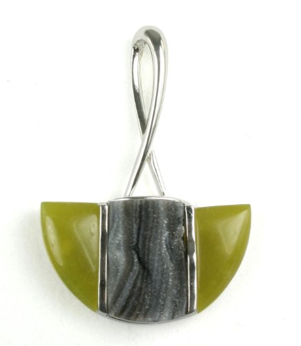 Natural Color Drusy Agate Green Tea Serpentine Sterling Silver Loop Pendant - Black Friday 2012 - Cyber Monday Special Deals