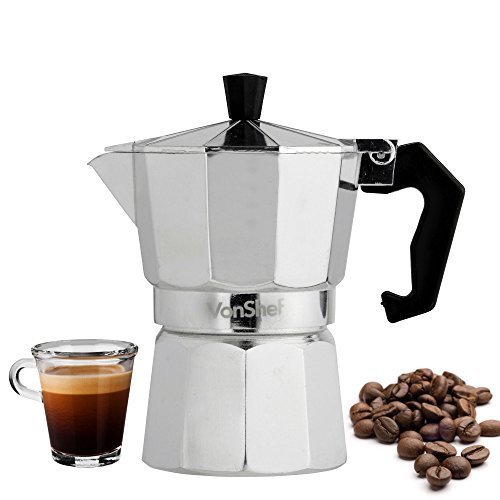 Best Review Of VonShef Espresso 3 or 6 Cup Coffee Maker Stove Top Moka Macchinetta (3 Cup)